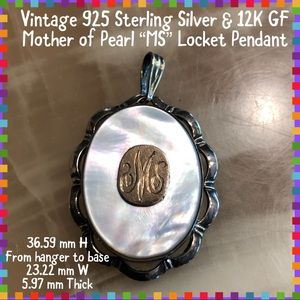 Jewelry - Vtg. STER Silver/12K GF Mother of Pearl Pendant